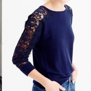 Dina Be Blue Lace Sleeve Sweater